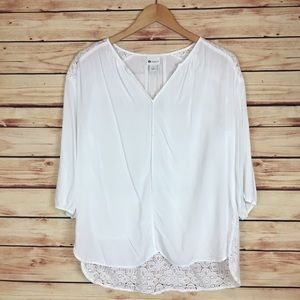 Stylus White Blouse High Low Crochet Lace Large